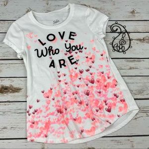 Justice Shirt Girls 8 White Heart Love Who You Are